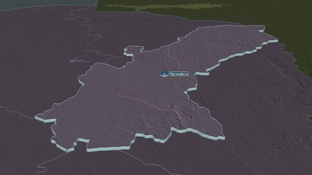 Zoom in on Mashonaland East (province of Zimbabwe) extruded. Oblique perspective. Colored and bumped map of the administrative division with surface waters. 3D rendering 写真素材