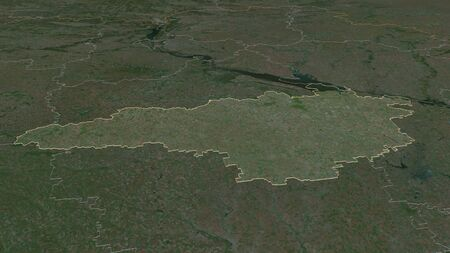 Zoom in on Kirovohrad (region of Ukraine) outlined. Oblique perspective. Satellite imagery. 3D rendering