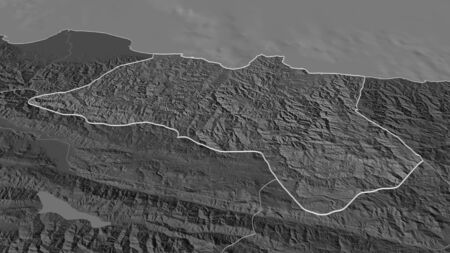 Zoom in on Ordu (province of Turkey) outlined. Oblique perspective. Bilevel elevation map with surface waters. 3D rendering 写真素材