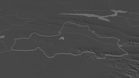 Zoom in on Samarkand (region of Uzbekistan) outlined. Oblique perspective. Bilevel elevation map with surface waters. 3D rendering 写真素材
