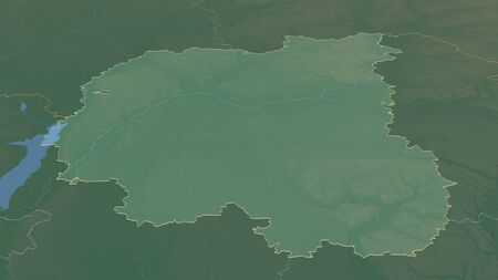 Zoom in on Chernihiv (region of Ukraine) outlined. Oblique perspective. Topographic relief map with surface waters. 3D rendering 写真素材