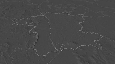 Zoom in on Worcestershire (administrative county of England) outlined. Oblique perspective. Bilevel elevation map with surface waters. 3D rendering