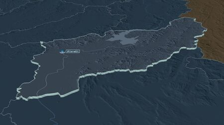 Zoom in on Uttaradit (province of Thailand) extruded. Oblique perspective. Colored and bumped map of the administrative division with surface waters. 3D rendering