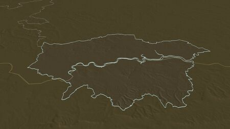Zoom in on London (region of United Kingdom) outlined. Oblique perspective. Colored and bumped map of the administrative division with surface waters. 3D rendering