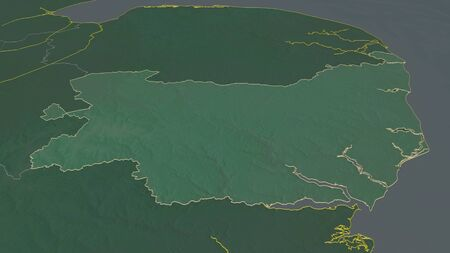Zoom in on Suffolk (administrative county of England) outlined. Oblique perspective. Topographic relief map with surface waters. 3D rendering 写真素材