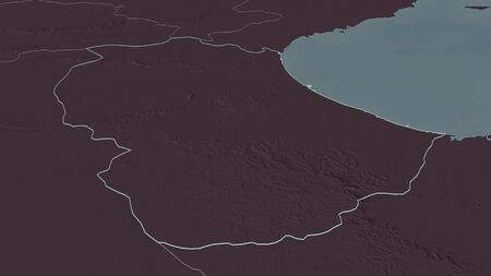 Zoom in on Gabès (governorate of Tunisia) outlined. Oblique perspective. Colored and bumped map of the administrative division with surface waters. 3D rendering