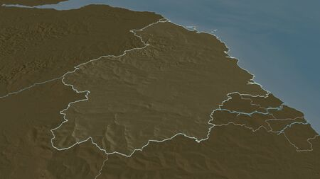 Zoom in on Northumberland (administrative county of England) outlined. Oblique perspective. Colored and bumped map of the administrative division with surface waters. 3D rendering