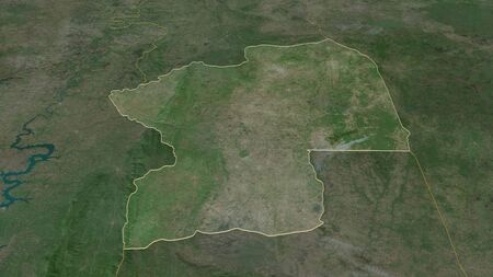 Zoom in on Centre (region of Togo) outlined. Oblique perspective. Satellite imagery. 3D rendering