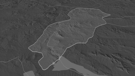 Zoom in on Kirikkale (province of Turkey) outlined. Oblique perspective. Bilevel elevation map with surface waters. 3D rendering