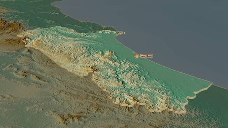 Zoom in on Qu?ng Bình (province of Vietnam) extruded. Oblique perspective. Topographic relief map with surface waters. 3D rendering 写真素材