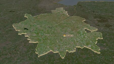 Zoom in on Cambridgeshire (administrative county of England) extruded. Oblique perspective. Satellite imagery. 3D rendering