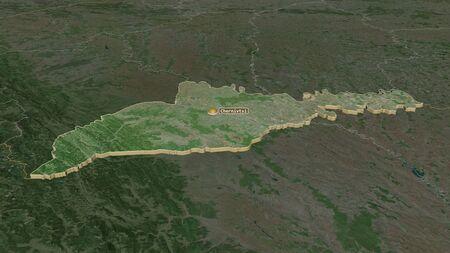 Zoom in on Chernivtsi (region of Ukraine) extruded. Oblique perspective. Satellite imagery. 3D rendering