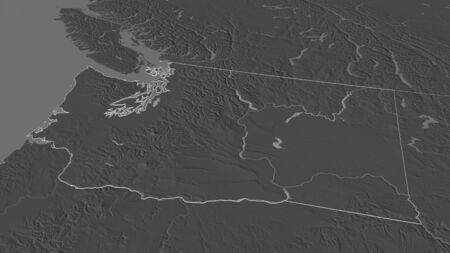 Zoom in on Washington (state of United States) outlined. Oblique perspective. Bilevel elevation map with surface waters. 3D rendering