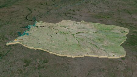 Zoom in on Salto (department of Uruguay) extruded. Oblique perspective. Satellite imagery. 3D rendering