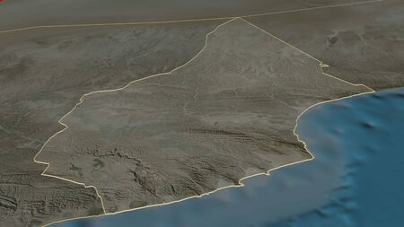 Zoom in on Al Mahrah (governorate of Yemen) outlined. Oblique perspective. Satellite imagery. 3D rendering