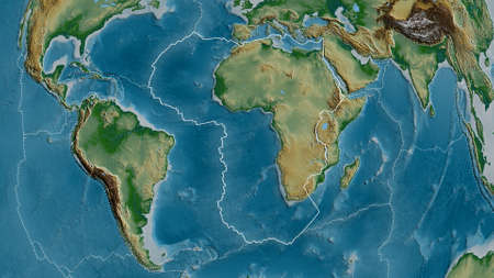 Outline of the African tectonic plate with the borders of surrounding plates against the background of a physical map. 3D rendering