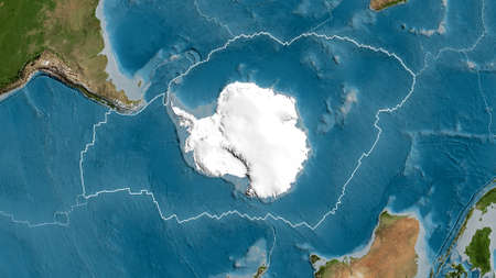 Outline of the Antarctic tectonic plate with the borders of surrounding plates against the background of a satellite map. 3D rendering