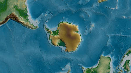 Physical map of the area around the Antarctic tectonic plate. 3D rendering