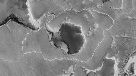 Outline of the Antarctic tectonic plate with the borders of surrounding plates against the background of a grayscale map. 3D rendering 스톡 콘텐츠