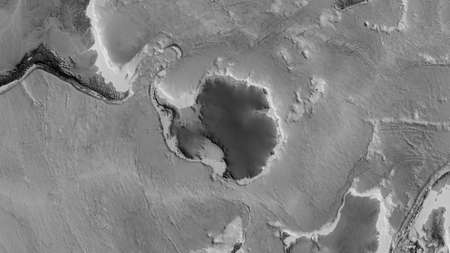 Grayscale map of the area around the Antarctic tectonic plate. 3D rendering