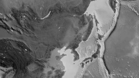 Grayscale map of the area around the Amur tectonic plate. 3D rendering