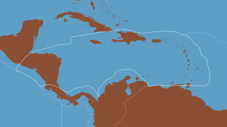 Outline of the Caribbean tectonic plate with the borders of surrounding plates against the background of a pattern map. 3D rendering