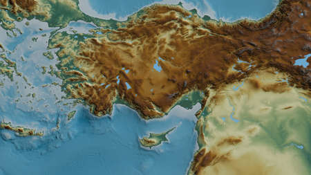 Relief map of the area around the Anatolian tectonic plate. 3D rendering