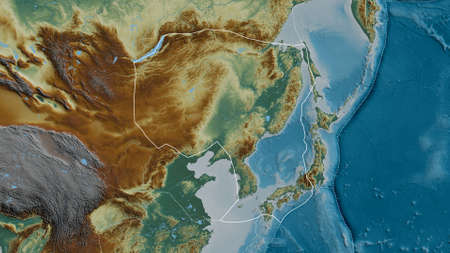 Outline of the Amur tectonic plate with the borders of surrounding plates against the background of a relief map. 3D rendering