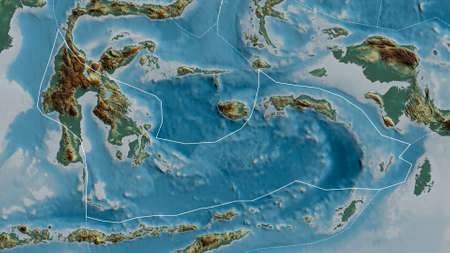Outline of the Banda Sea tectonic plate with the borders of surrounding plates against the background of a relief map. 3D rendering