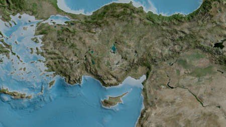 Satellite map of the area around the Anatolian tectonic plate. 3D rendering