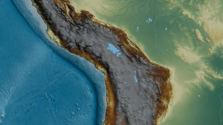 Relief map of the area around the Altiplano tectonic plate. 3D rendering