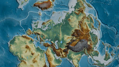 Outline of the Eurasian tectonic plate with the borders of surrounding plates against the background of a relief map. 3D rendering