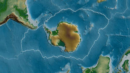 Outline of the Antarctic tectonic plate with the borders of surrounding plates against the background of a physical map. 3D rendering