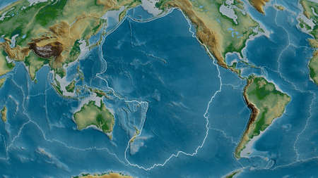 Outline of the Pacific tectonic plate with the borders of surrounding plates against the background of a physical map. 3D rendering