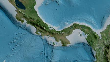 Satellite map of the area around the Panama tectonic plate. 3D rendering