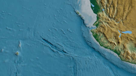 Physical map of the area around the Rivera tectonic plate. 3D rendering