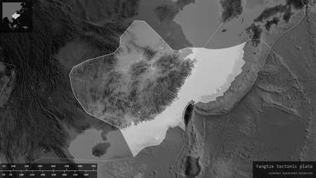 Yangtze plate shape outlined on a darkened and desaturated background of the grayscale map with informative overlays. 3D rendering