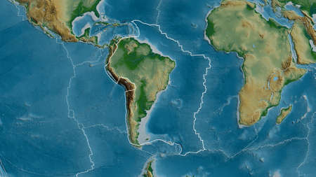 Outline of the South American tectonic plate with the borders of surrounding plates against the background of a physical map. 3D rendering