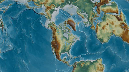 Outline of the North American tectonic plate with the borders of surrounding plates against the background of a relief map. 3D rendering