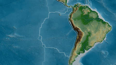 Outline of the Nazca tectonic plate with the borders of surrounding plates against the background of a physical map. 3D rendering