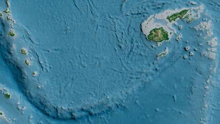 Physical map of the area around the Conway Reef tectonic plate. 3D rendering