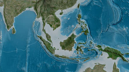 Outline of the Sunda tectonic plate with the borders of surrounding plates against the background of a satellite map. 3D rendering