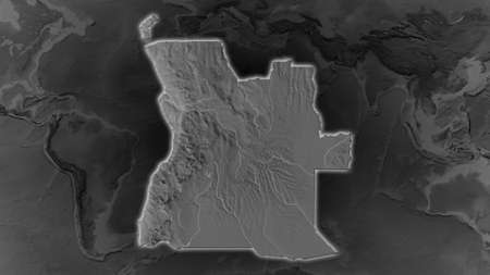 Angola area enlarged and glowed on a darkened background of its surroundings. Grayscale bumped elevation map