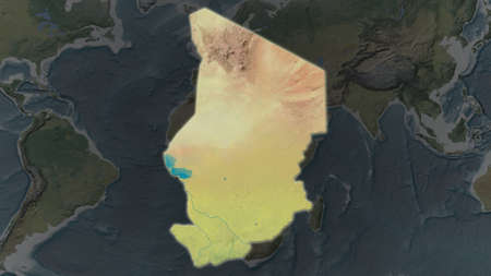 Chad area enlarged and glowed on a darkened background of its surroundings. Topographic map