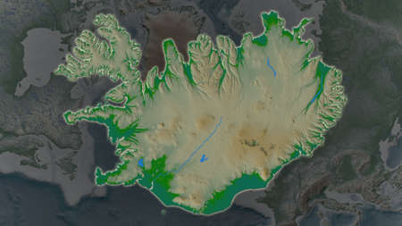 Iceland area enlarged and glowed on a darkened background of its surroundings. Main physical landscape features Banco de Imagens