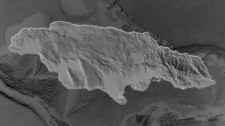 Jamaica area enlarged and glowed on a darkened background of its surroundings. Grayscale bumped elevation map