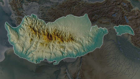 Cyprus area enlarged and glowed on a darkened background of its surroundings. Relief map