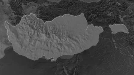 Cyprus area enlarged and glowed on a darkened background of its surroundings. Bilevel bumped elevation map
