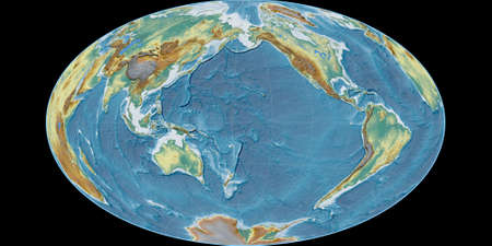 World map in the Gott Equal-Area projection centered on 170 West longitude. Topographic relief map - raw composite of raster with graticule. 3D illustration 版權商用圖片