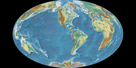 World map in the Gott Equal-Area projection centered on 90 West longitude. Topographic relief map - raw composite of raster with graticule. 3D illustration 版權商用圖片